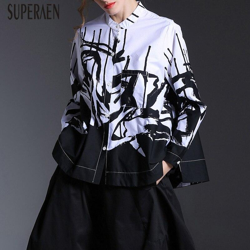 SuperAen أوروبا أزياء المرأة قميص 2019 الربيع والخريف جديد طويل الأكمام البلوزات و قمم الإناث القطن Pluz حجم طباعة قميص-في بلوزات وقمصان من ملابس نسائية على  مجموعة 1