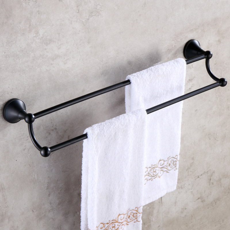 Solid Brass Towel Rack Antique Towel Bar/ Towel Holder Black Towel Bar Double Layers Bathroom Accessories 23 inch (60cm) BA baxi baxi коксиальный отвод 90 гр нт