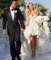 Sexy Docinho Alta Baixa Vestidos de Casamento Frente Curto Longo Voltar Beading Lantejoulas Ruffles Vestido De Noiva Vestidos De Noiva trouwjurk