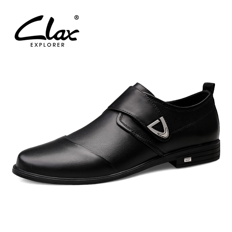 CLAX Mens leather dress shoe 2019 male office shoes pointed toe man 39 s wedding shoe genuine leather Formal oxfords social Shoe in Formal Shoes from Shoes