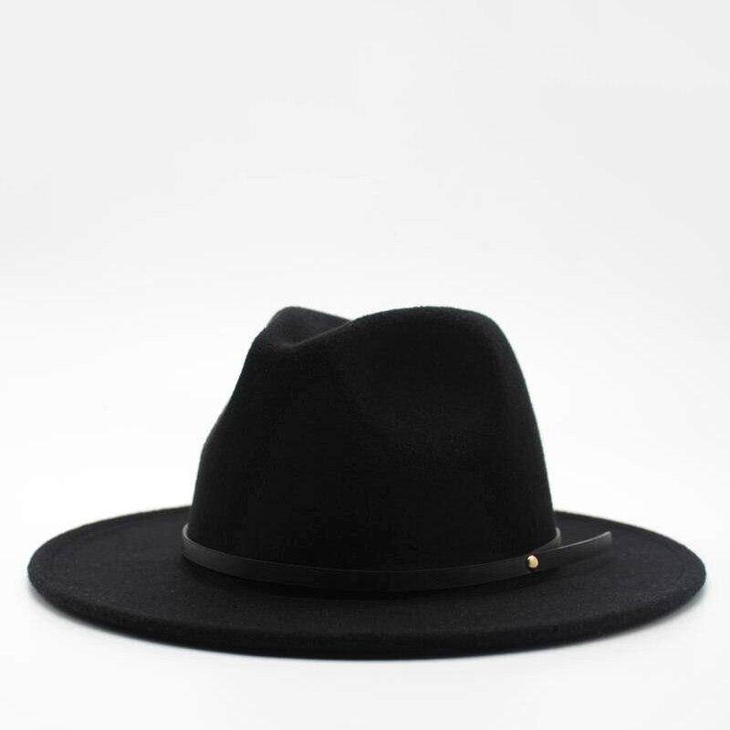 7b1ab36c8 Wool Fedora Hat Hawkins Felt Cap Wide Brim Ladies Trilby Chapeu ...