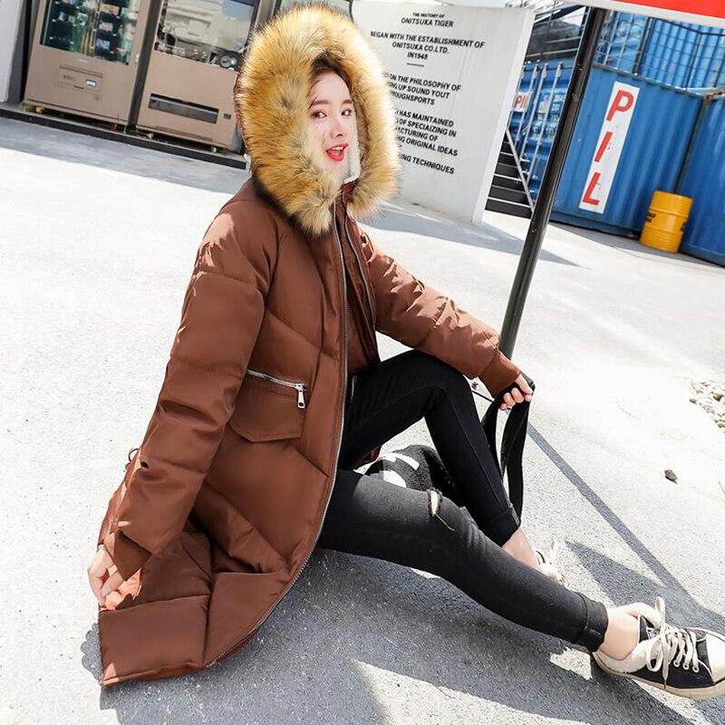 Lungo Beige Fur Fashion Imbottito Spessore Cappuccio Nero Caldo Inverno Colour Parka Eleganti New Delle Donne Cappotto Cotone Di Con il Faux Giacca 2018 caramel THxEdwCq