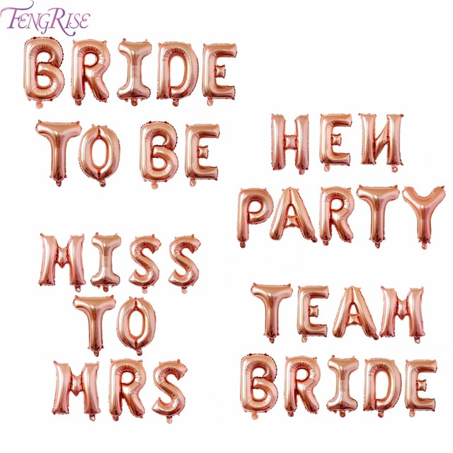 FENGRISE Rose Gold Bride To Be Balloon Gold Team Bride Balloons Hen Party Accessories Bridal Shower Bachelorette Party Decor