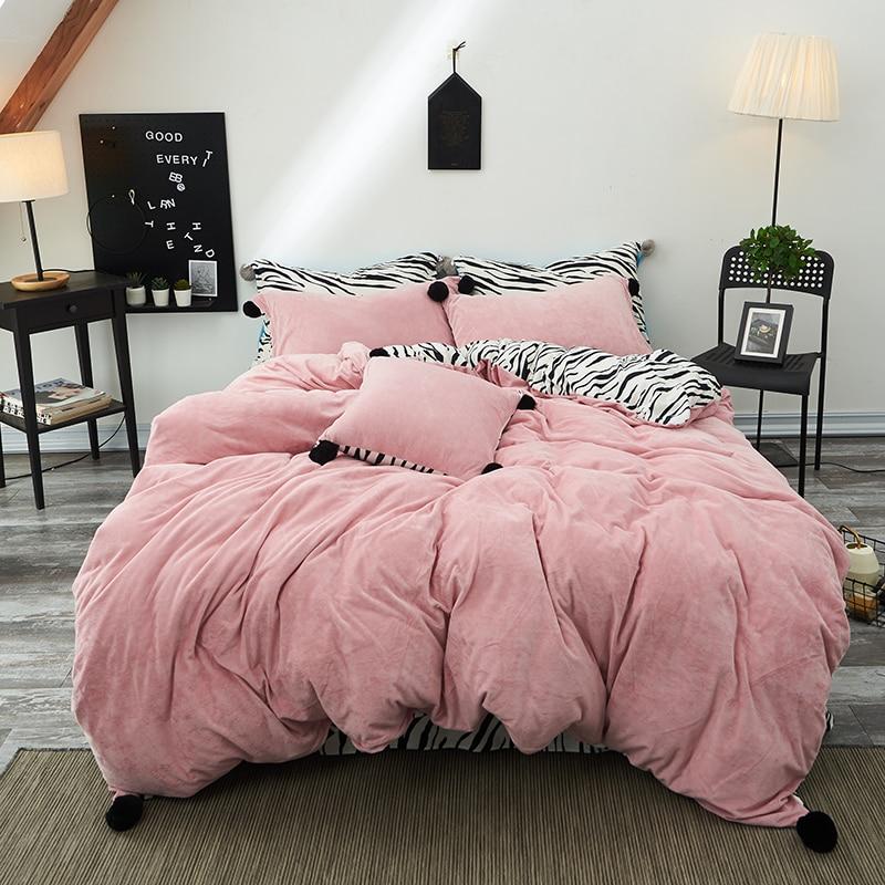 Pink Yellow Blue Printing Fleece Fabric Princess Bedding Set Flannel Duvet Cover Black White Zebra Pattern Bed Sheet Pillowcases