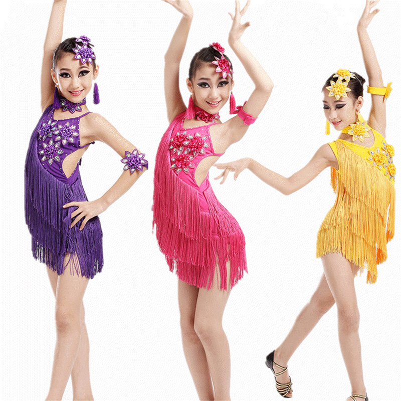 2017 New children Latin Dance Clothes Girls Tassels Flowers Latin Dance Skirts Dresses Dance Dress Costumes Ropa de baile latino pegasus girls sexy latin dance dress fashion female dance dress1448 new clothes and costumes