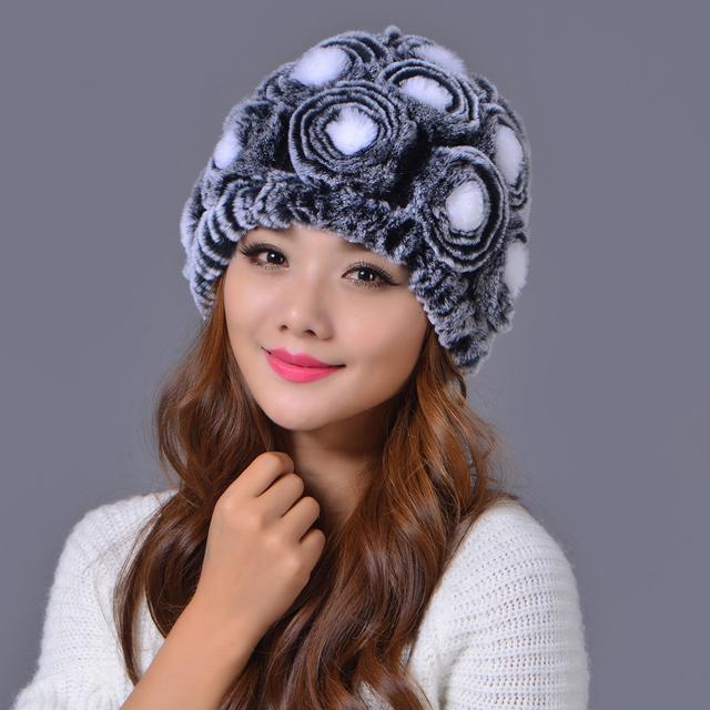 Chapéus das mulheres Marca Outono Inverno Quente 100% Real Rex Coelho subiu Floral Engrosse Lã Abacaxi Gorros Cap Chapéu Senhoras Casuais chapéus