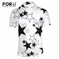 FORUDESIGNS Black White Star Pattern for Man Polo Shirt Casual Summer Short Sleeve Slim Fit Polo-shirt Turn-down Top Shirt Homme