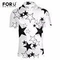 Forudesigns preto branco padrão de estrela para o homem polo camisa ocasional do verão de manga curta slim fit polo-camisa turn-para baixo top camisa homme