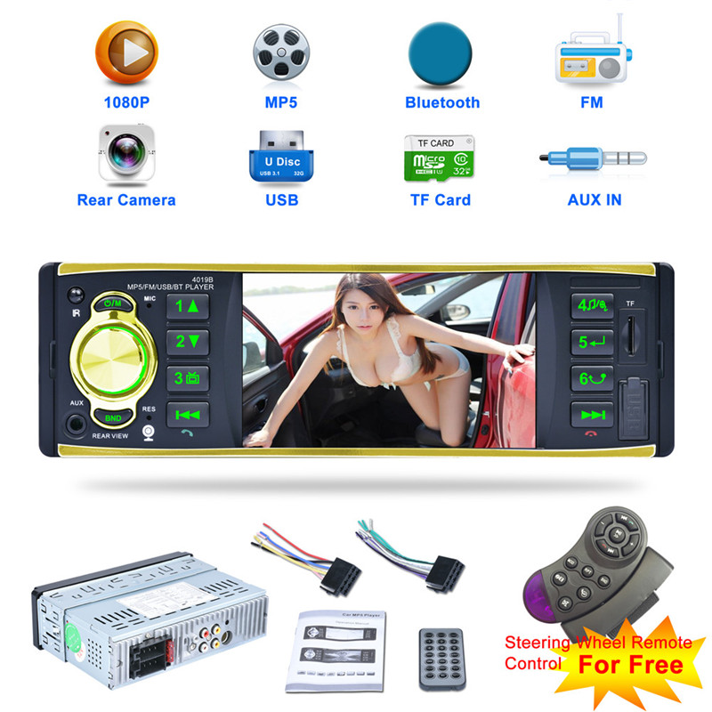 4019B 4.1 inch 1din Car Radio Audio Stereo Single Spindle USB AUX FM Radio Station Bluetooth with Rearview Camera Remote Control 4 1 inch 1 din hd bluetooth car stereo radio auto mp3 mp5 player usb fm tf aux steering wheel remote control rearview camera