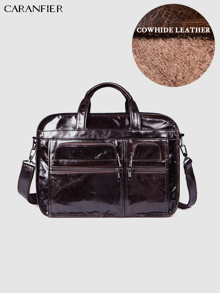 CARANFIER Mens Briefcases Business Messenger Shoulder Bags Genuine Leather Solid Vintage Handbags Large Capacity Laptop Bags