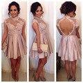 2016 New Open Back Taffeta Short Evening party Dress vestido festa curto Lacce Appliqued vestido lentejuelas