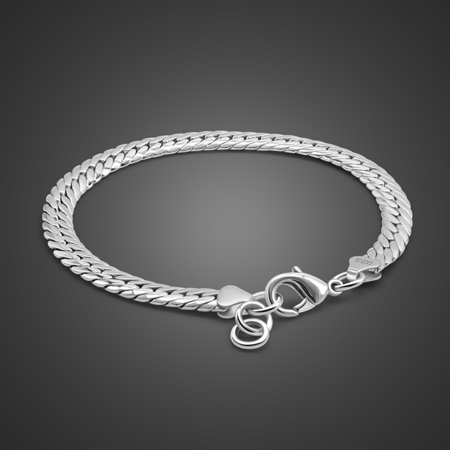 b7385b97303e25 New Fashion Hot male 100% 925 sterling silver Bracelet 6MM 20cm Snake Chain  Charm Bracelet Men & women Personality Jewelry