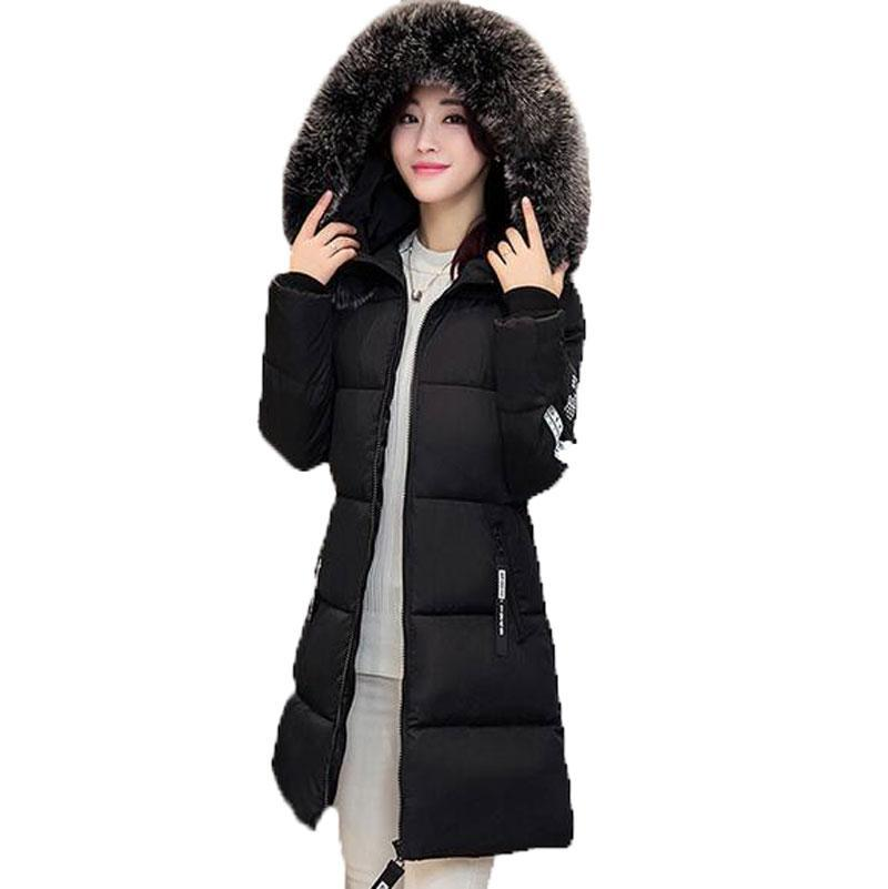 New 2017 Winter Warm Down Cotton Jacket Women Faux fur Collar Thick Slim Hooded Plus Size Long Down Jacket Coat plus size winter jacket new style women down cotton overcoat thick warm coat elegant slim hooded fur collar jacket female ok280