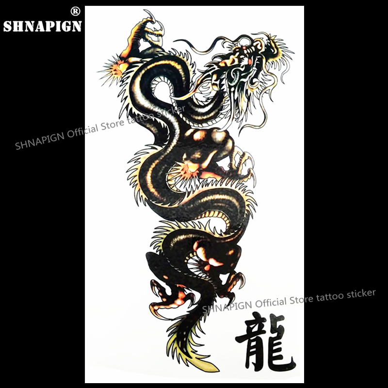SHNAPIGN Black Dragon Of Doom Temporary Tattoo Body Art Flash Tattoo Stickers 17*10cm Waterproof Fake Tatoo Car Styling Sticker