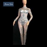 Кристия Белла роскошный комбинезон со стразами женский Стразы эластичное боди комбинезон для вечеринки сексуальные для певицы для сцены н