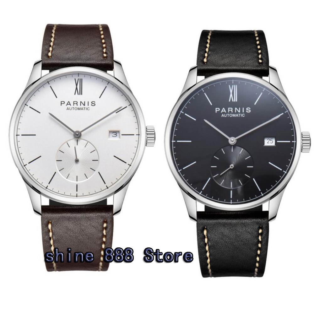 42mm parnis white dial date window leather ST1731 automatic mens watch