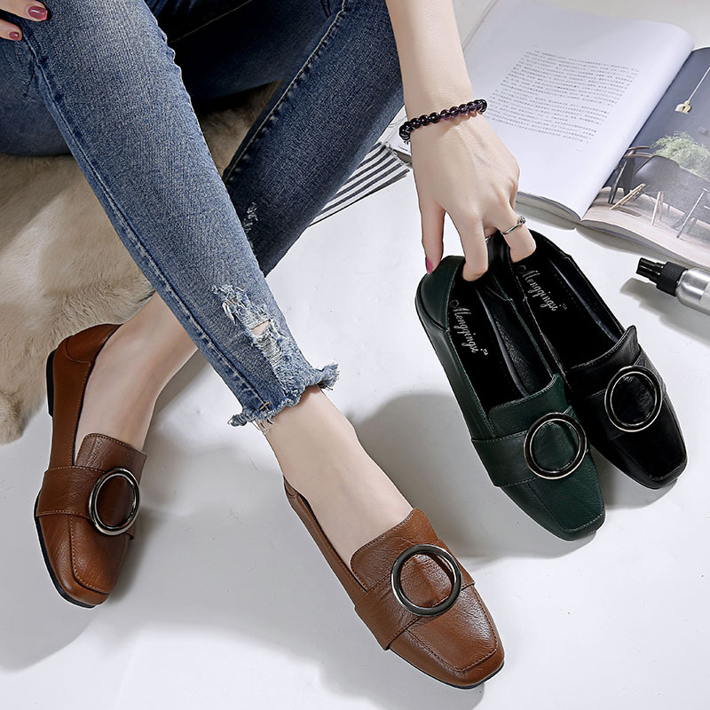 2018 new spring autumn women flats casual shoes fashion square toe round buckle comfortable leather womens shoes B852018 new spring autumn women flats casual shoes fashion square toe round buckle comfortable leather womens shoes B85
