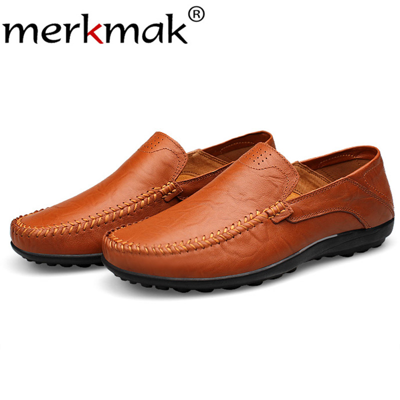 Merkmak Genuine Leather Men Loafers Shoes Casual Slip On Men Flats Moccasins Comfortable Big Size 37-47Loafer Sapatos Masculinos new roman men leather shoes casual men loafers flats shoes slip on moccasins men s loafers genuine leather male shoes