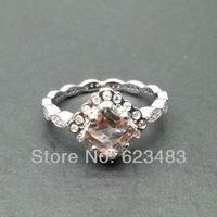 Princess Cut Morganite 14kt White Gold Engagement Wedding Ring