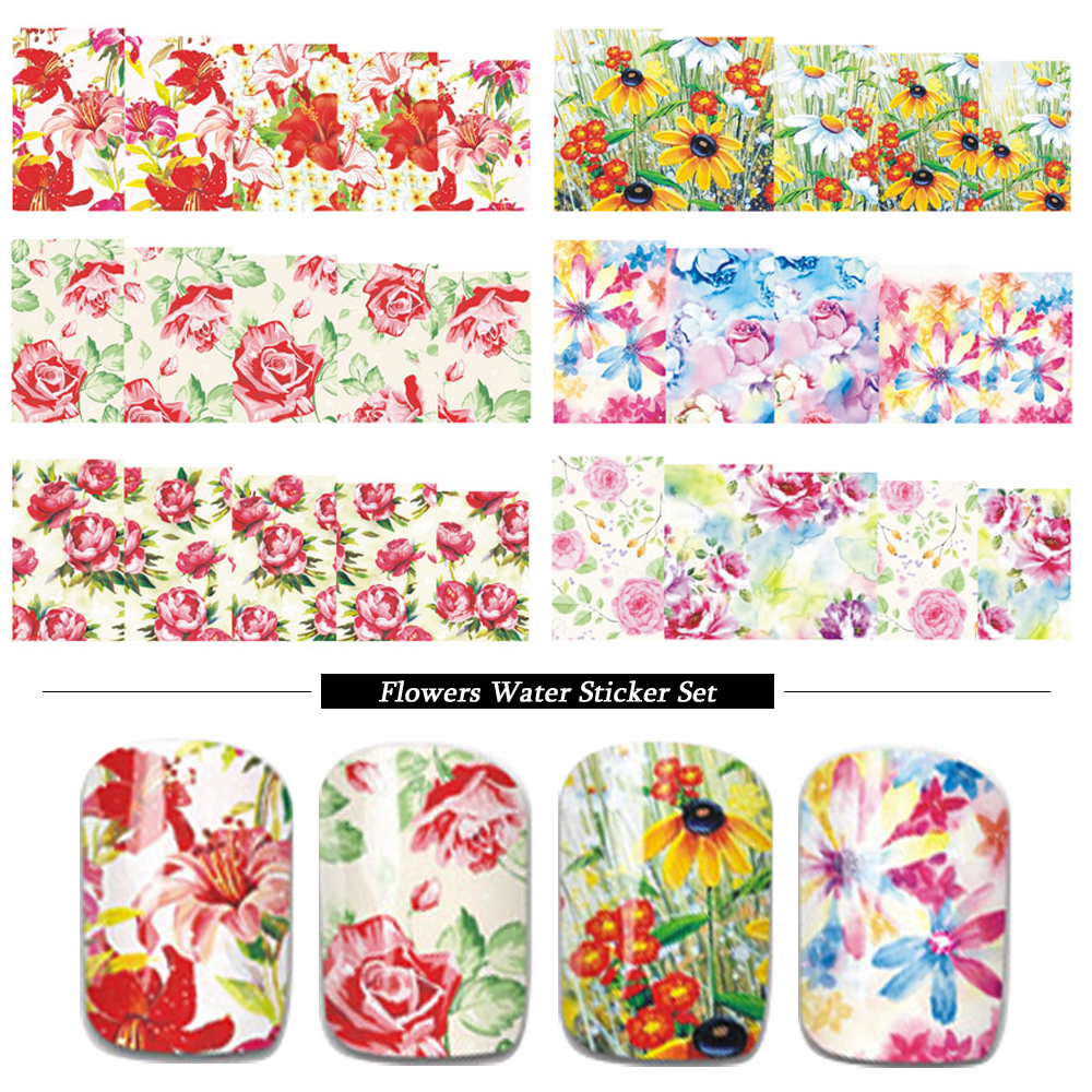 12 Designs Summer Water Transfer Nail Art Sticker Flowers Set Gold Red Rose Decal Color Designs Nail Decoration Slider SABN01-12 colorful flowers water transfer nail