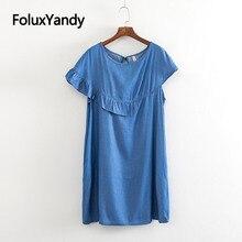 Asymmetrical Dress Women Casual Ruffles Short Sleeve Loose Summer Denim Dress Blue Vestidos KKFY3574 sexy half sleeve laciness asymmetrical denim dress for women