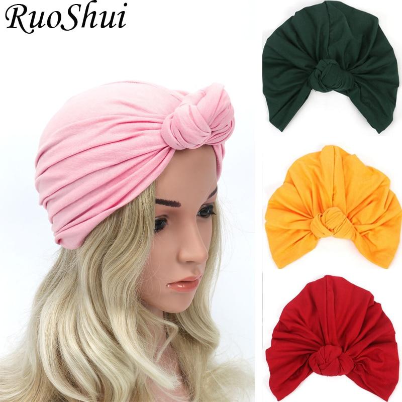 Women Bohemian Style Warm Winter Autumn Knot Turban Hat Stretchy  Cloche Cap Fashion Boho Soft Cross Hair Accessories Muslim hatWomens  Hair Accessories