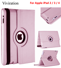 Pink Black Blue 360 Rotation Flip Stand Smart Case Cover For Apple iPad 2 3 4 Tablet Smart PU Leather Case For Apple i Pad 2 3 4