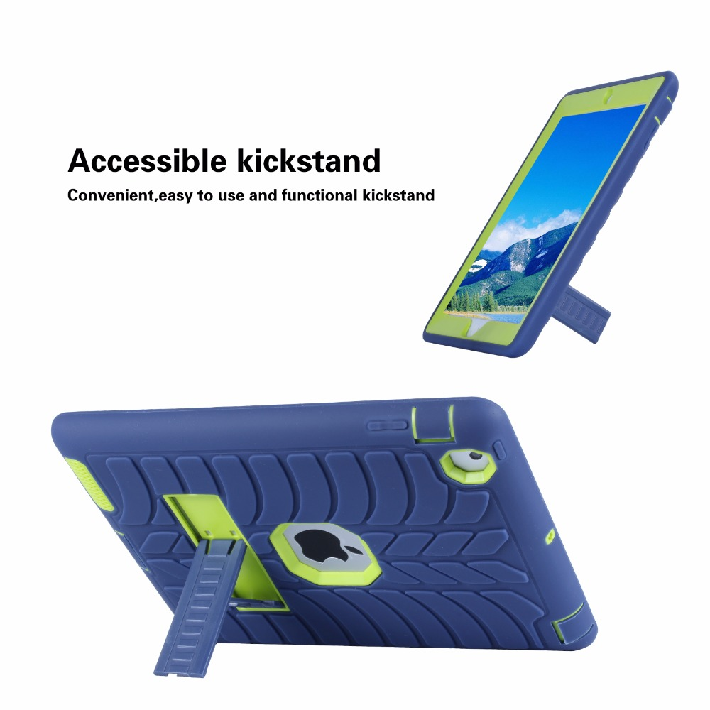 2017 yeni çocuk case ipad 2 4 3 için lastik desen hibrid standı - Tablet Aksesuarları - Fotoğraf 5