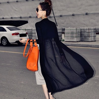 Maxi Cardigan Feminino 2015 Ankle Length Sweater Coat Women Knitted Long Sleeve Korean Vintage Black Oversized