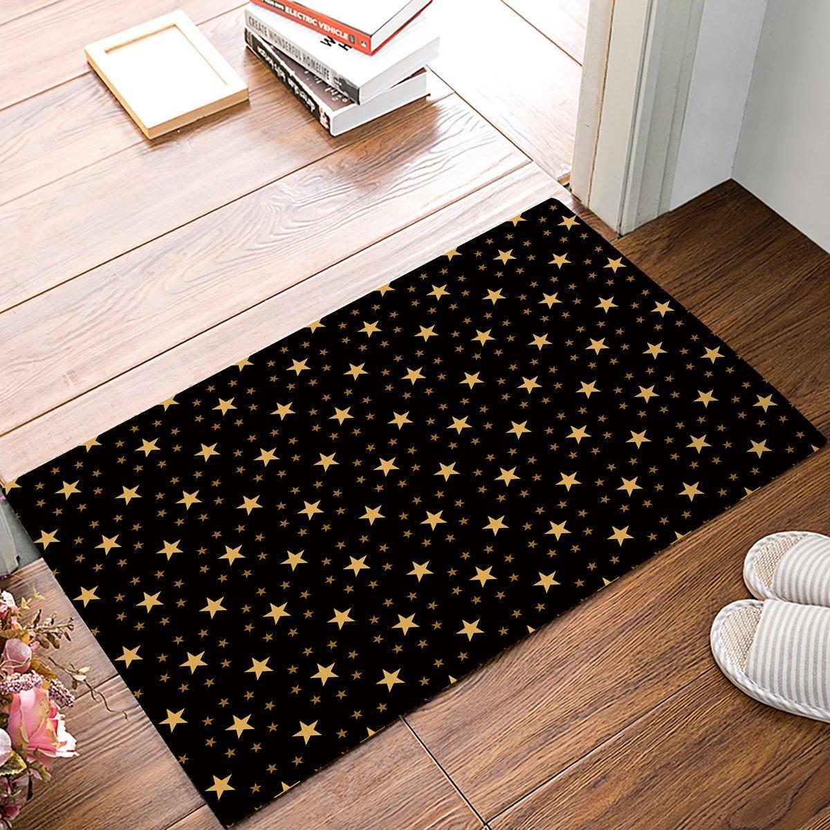 Black And Yellow Twinkle Star Door Mats Kitchen Floor Bath ...