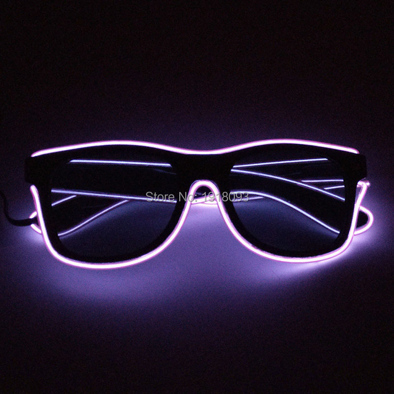 2017 New design Fashion Color Transparent blue EL Wire Glowing Sunglasses with dark lens Neon Novelty Lighting Glasses