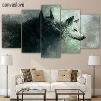 HD 5 Peça Impressa Animal Lobo Modular Da Arte Da Lona Pinturas de Arte Da Parede Da Lona Decoração Da Casa Para A Sala de estar Do Quarto Up-467
