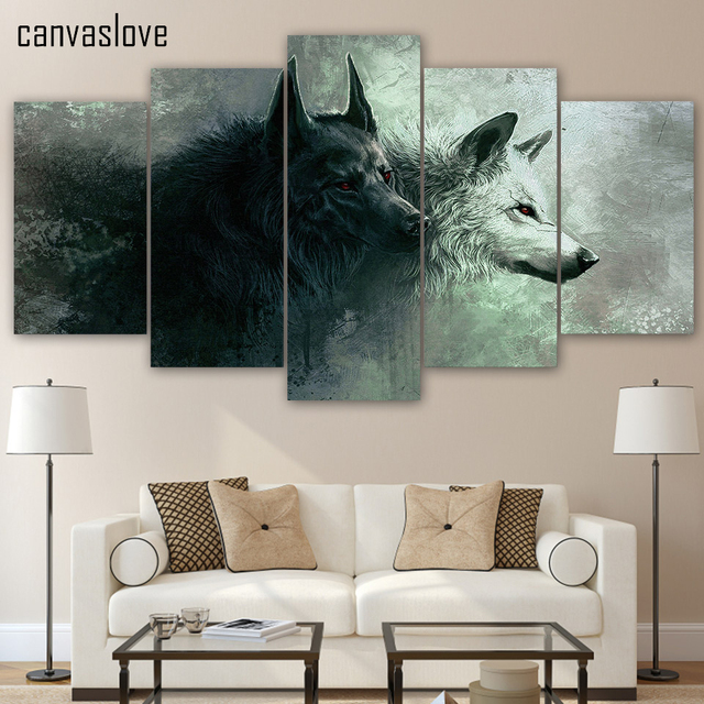 paintings for bedroom. HD 5 Piece Printed Animal Wolf Art Canvas Modular Paintings Bedroom Wall  Home Decoration