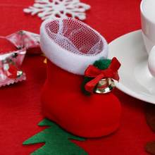 1PC Merry Christmas Decor Santa Claus Candy Boots Party Gift Red Boots for Home Xmas Stocking Natal Decor New Year Decoration(China)