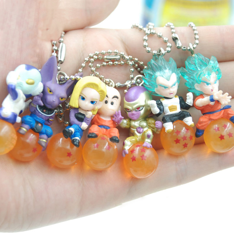 7Pcs/Set Anime Dragon Ball Super Saiyan Keychain Son Goku Beerus Android 18 PVC Keychain Action Figure Pendant Collection Toy all characters tracer reaper widowmaker action figure ow game keychain pendant key accessories ltx1