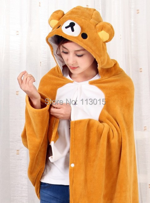 Conscientious Anime Plush Rilakkuma Bear Adult Hooded Blanket Fleece Cartoon Cute Wrap Cosplay Cloak Cape 150x70cm Pleasant In After-Taste Dolls & Stuffed Toys Toys & Hobbies