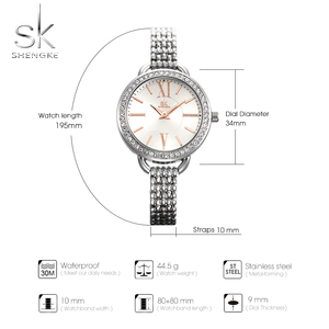 Image 3 - Shengke reloj de cuarzo para mujer, joyería, moda de lujo, japonesas negras, Mov, Rosegold, SK 2019