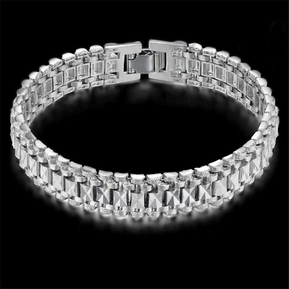 Chunky Pria Tangan Gelang Rantai Pria Grosir Bijoux Silver Warna Emas Jaringan Link Gelang untuk Pria Perhiasan Pulseira Masculina E-store Prince