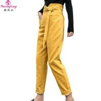 2019 Pink Yellow Corduroy Pants Women Autumn Winter High Waist Casual Cotton Pants Female Streetwear Fashion Corduroy Trousers
