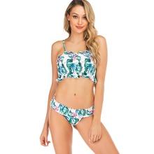 Women's High Waist Bikini Set Ruffled Crinkle Bandeau Biquini Beachwear maillot de bain Female Swimwear Bathing Suit S M L XL