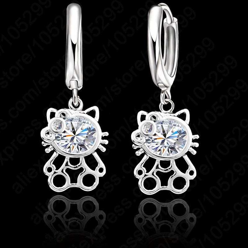 PATICO Good Quality S90 Silver Cubic Zirconia Lever Back Loop Earrings Lovely Kitty Design Jewelry For Woman Girl