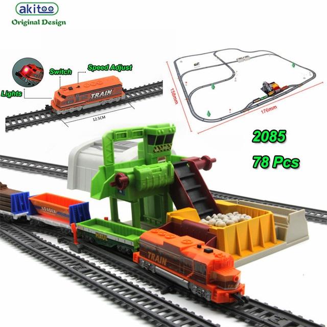 Akitoo 1025 Lampu Listrik Kereta Panjang Penuh 1067 Cm Simulasi Bijih Loader Terowongan Anak-anak Mainan Pendidikan Awal Mainan Hadiah