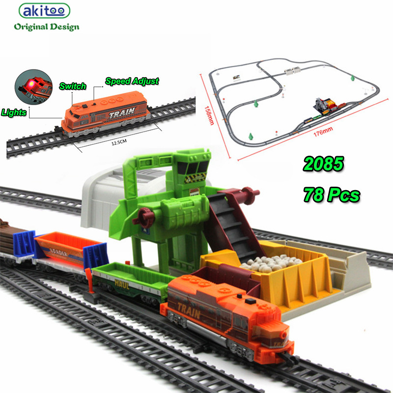 Akitoo 1025 Electric Light Rail Car Full Length 1067cm Simulation Ore Loader Tunnel Children Toys Early Education Toys Gift