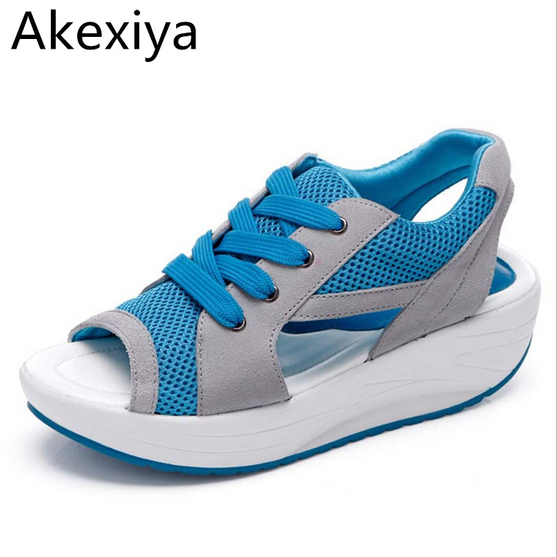 Akexiya Fashion Summer Women's Sandals Casual Mesh Breathable Shoes Comfortable Wedges Sandals Lace Platform Sandalias phyanic 2017 gladiator sandals gold silver shoes woman summer platform wedges glitters creepers casual women shoes phy3323