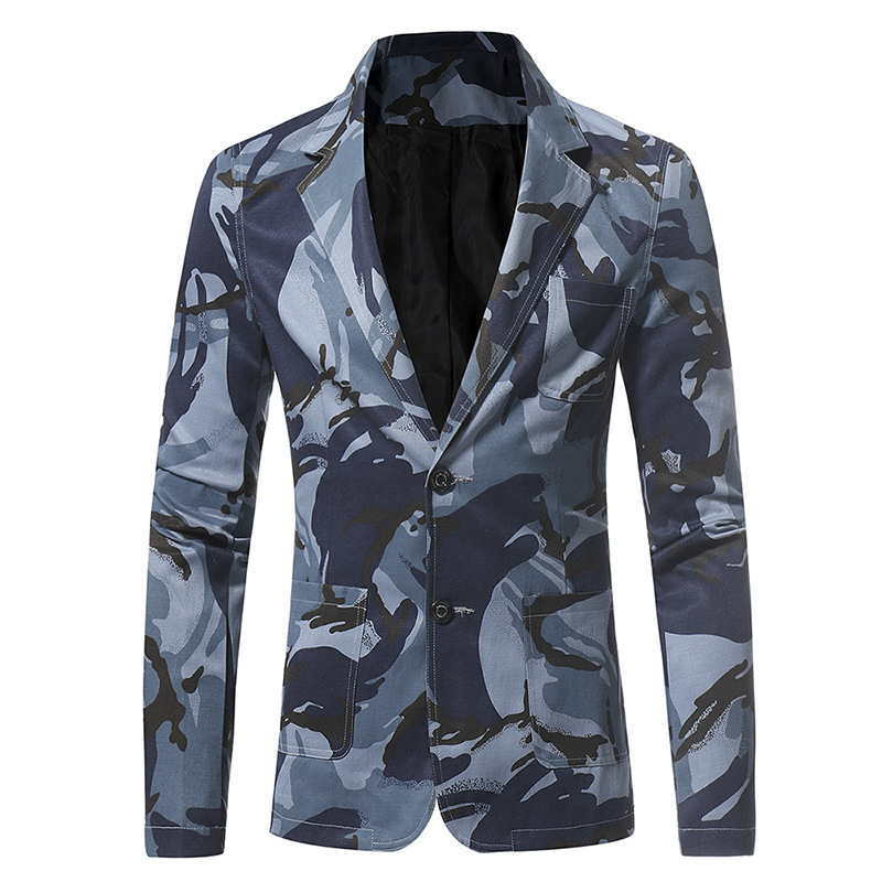 Dropshipping Camouflage Series Men's Casual Slim Suit High-grade Jacket Fashion Casual Blazers Long Sleeves Button Top Coat