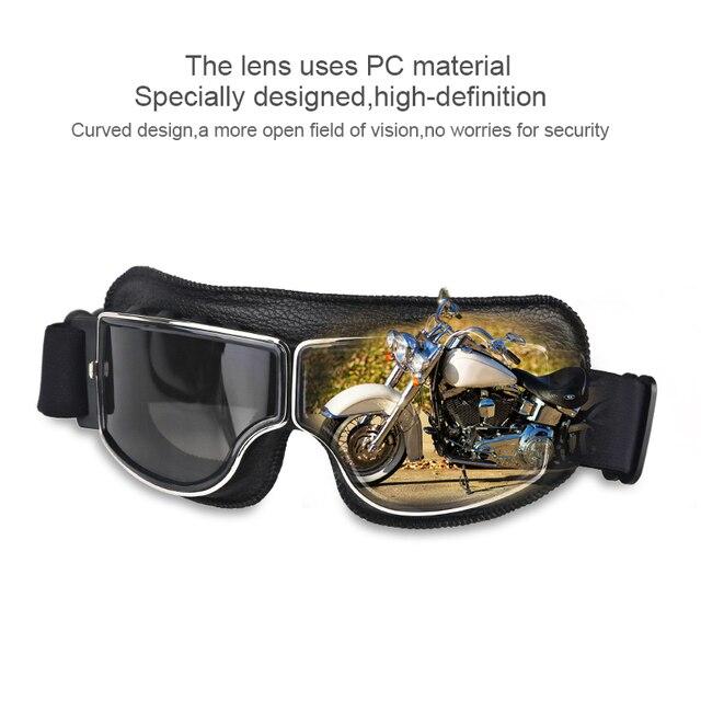 Herorider Universal Vintage Motorcycle Goggles Pilot Aviator Motorbike Scooter Biker Glasses Helmet Goggles Foldable For Harley 5