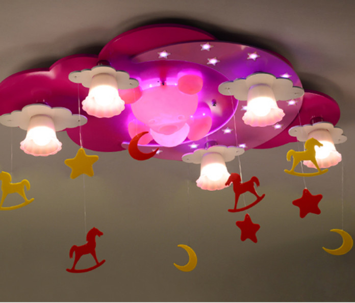 pink color kids Room Lighting boy cartoon warm girl bedroom ceiling lamp LED creative Child Cartoon Living Room Light chandelier-in Ceiling Lights ...