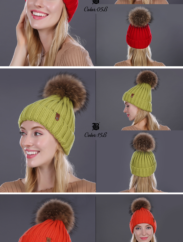 [FLB] Wholesale Real Mink Fur Pom Poms Knitted Hat Ball Beanies Winter Hat For Women Girl 'S Wool Hat Cotton Skullies Female Cap 58