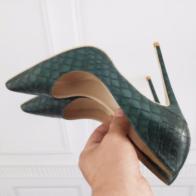 Dark Green Women's Shoes High Heel 12cm / 10cm / 8cm Heel Sexy Tip Pumps Shoes Small Size 33 34