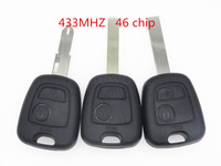 Replace Remote Car Key Fob 2 Button 433MHz ID46 For Peugeot 206 307 407 207 1pc